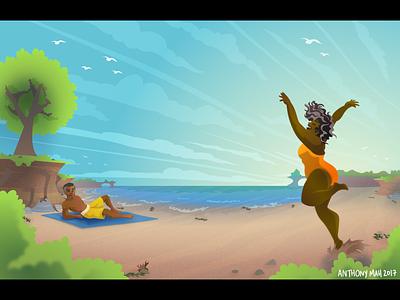 Beach  vector sand sunny relax swimsuit fun people beach illustrator