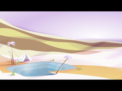Pink Desert hot environment simple pink palm tree oasis illustrator desert retro vector