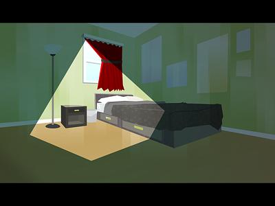 Bedroom contrast shadow light green painting background bedroom interior illustration vector