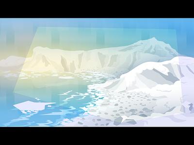 Arctic water sky blue slush winter environment baren ice cold arctic illustration vector