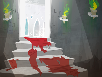 Stairs Rebound (finished) vector retro medieval interior illustration fire castle