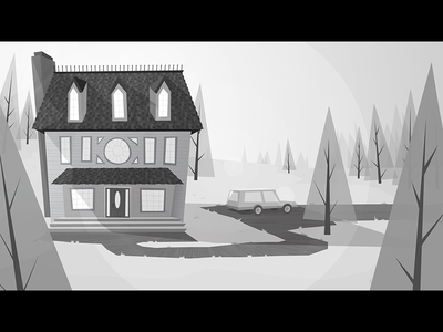Forest house retro forest environment station wagon values greyscale background vector illustrator