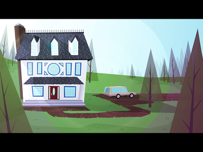 Forest house - Color 2 retro forest environment station wagon values background vector illustrator
