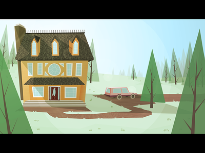 Forest house - Color 1 retro forest environment station wagon values background vector illustrator