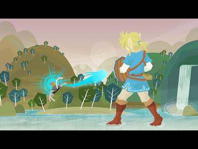 Breath of the Wild - Hills legend of zelda videogames waterfall water background retro environment illustrator digital vector fanart zelda
