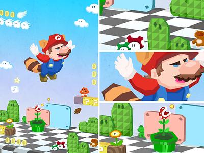 Mario 3 fanart isometric level design goomba koopa star mushroom nes video game mario 3 retro design illustration mario nintendo video games games vector retro