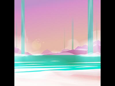 Alien Beach fantasy environment scifi beach illustration background textures illustrator vector art