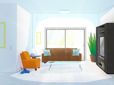 Living Room Layout Color textures comic book art layout design interior background illustrator illustration vector
