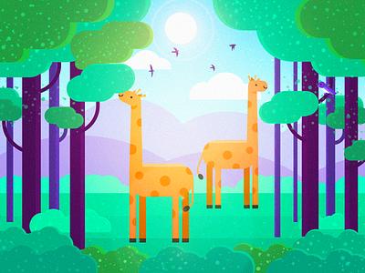 Zoo - giraffe illustrations photoshop