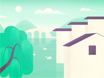 Small town colour illustrations photoshop