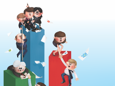 Fokus magazine characters pile stack diagram print