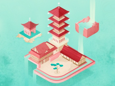 GlobeTrotters : Kyoto headspace peaceful illustration design temple kyoto japan meditation school of motion illustration for motion water waterfall river landscape isometric