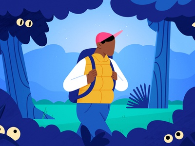 Home Loan Hike 2d styleframe hike man guy plants nature mountains outdoor forest journey adventure walking home loans travel landscape hiking character design character illustration