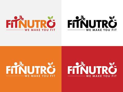 FITNUTRO - Fitness Logo Design fitness app illustration ui  ux design logo 2d logo design ui  ux design logo