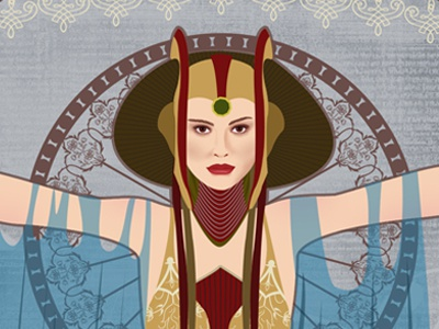 Queen Amidala star wars photoshop vector queen amidala padme alphonse mucha art nouveau