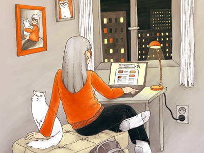 Girl with cat girl cat window illustration orange grey photoshop picture lamp