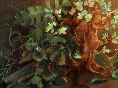 Magic forest forest illustration green brown painting photoshop leaves flovers tree