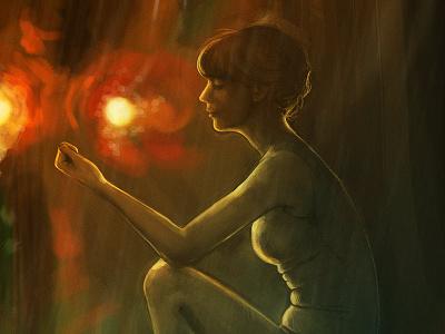 Girl in the rain girl rain lights
