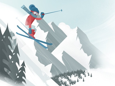 Skier ski snow skier winter jump trees hills mountains