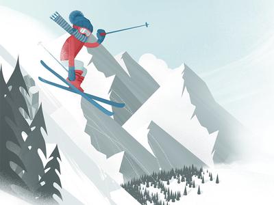 Skier ski snow skier winter jump trees hills mountains