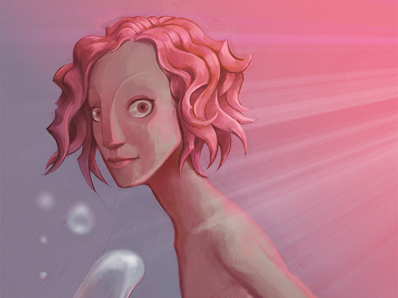Pink girl pink girl hair curly bubbles light