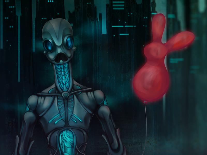 Robot with red rabbit baloon blue rabbit city dark sci-fi baloon robot