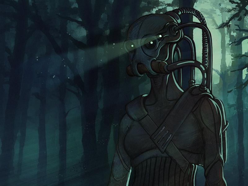Postapo forest sci-fi photoshop paintig robot dark blue postapo girl forest