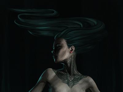 Irina contrast blue figural tatoo girl
