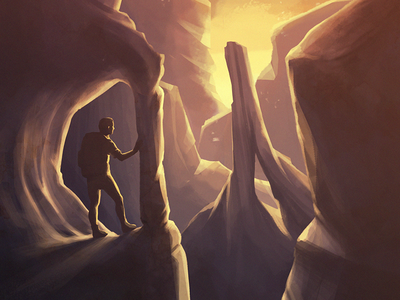 Traveller sunrise light silhouette landscape imaginary rocks