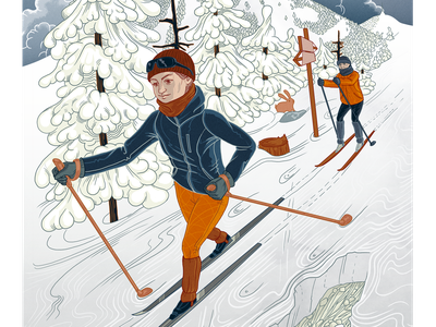 Crosscountry skiing skiing ski mountains fills lines snow winter