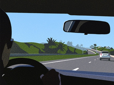 La Saline landscape car flat character illustration
