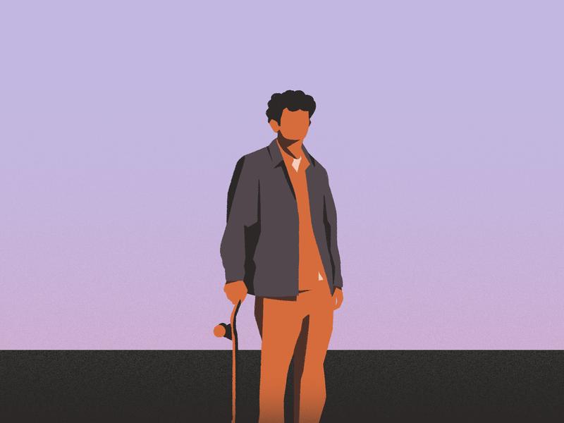 Skateboarding color skate frame character illustration