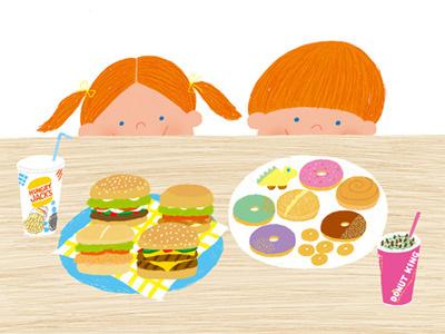 Can't wait! child food cute hamburger doughnut children photoshop illustration