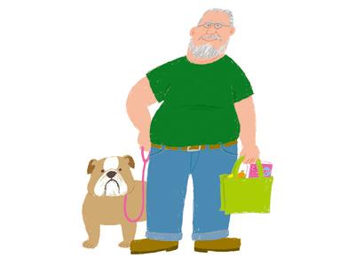 (no title) illustration old man dog photoshop shopping