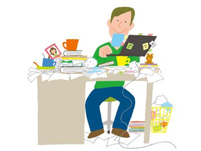 (no title) illustration photoshop man boy desk office mess