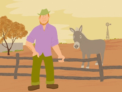 Outbacker illustration photoshop man donkey outback