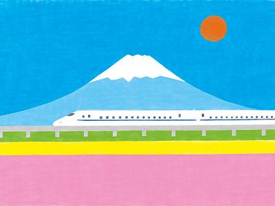 Japan photoshop spring shinkansen fuji landscape simpe design illustration