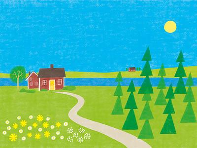 Sweden spring simple landscape sweden swedish photoshop illustration