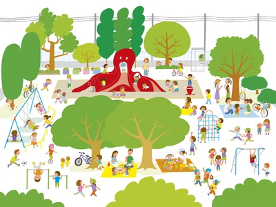 Octopus park photoshop life simple japan playground family children illustration