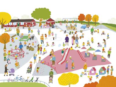 Vasaparken simple sweden playground family children photoshop illustration