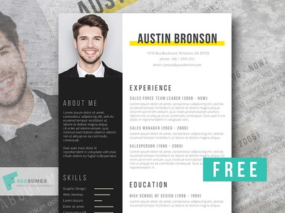 Free Resume Template - Contrast word free resume template professional resume templates creative resume cv freebie free resume