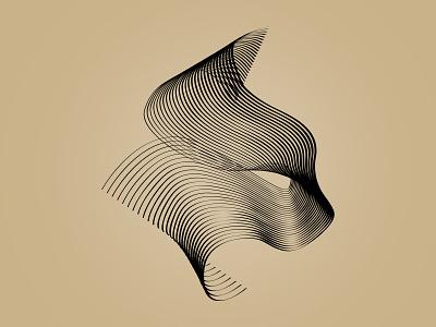 Blend Experiment vector lines gold black tiger cat illustrator blend