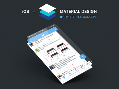 Twitter iOS Material Design Concept free sketch mobile ios concept material design twitter