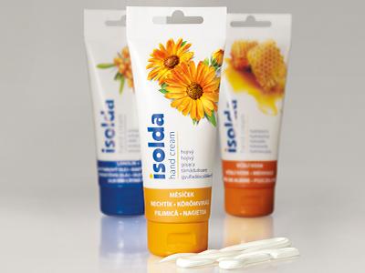 Isolda hand creams - packaging design tube flower design packaging retouching cream hand
