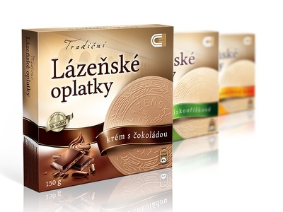 Traditional Czech Spa Wafers - packaging design crispy snack cream vanilla chocolate box sweet biscuit wafer