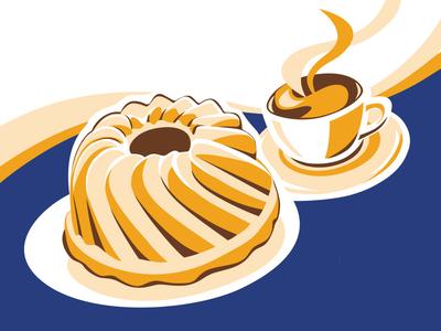 Cake and coffee illustration vector blue sugar sweet snack tea break coffee cake