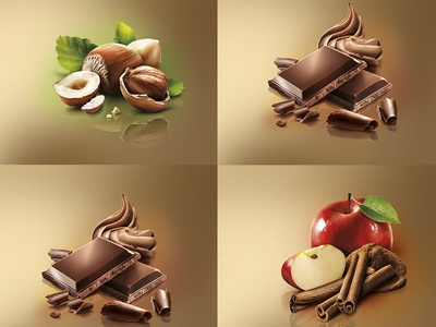 Nuts and chocolate shot for packaging cinnamon cream leaf shotoshop shadow light apple chocolate nuts composition retouching photography