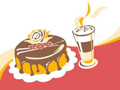 Cake and caffé latte sugar celebration cream shake milk coffee sweet vector illustration cake