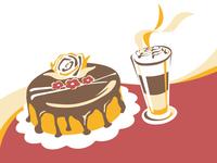Cake and caffé latte