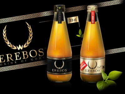 Erebos packaging design metallic foil vector energydrink beverage glass design label packaging
